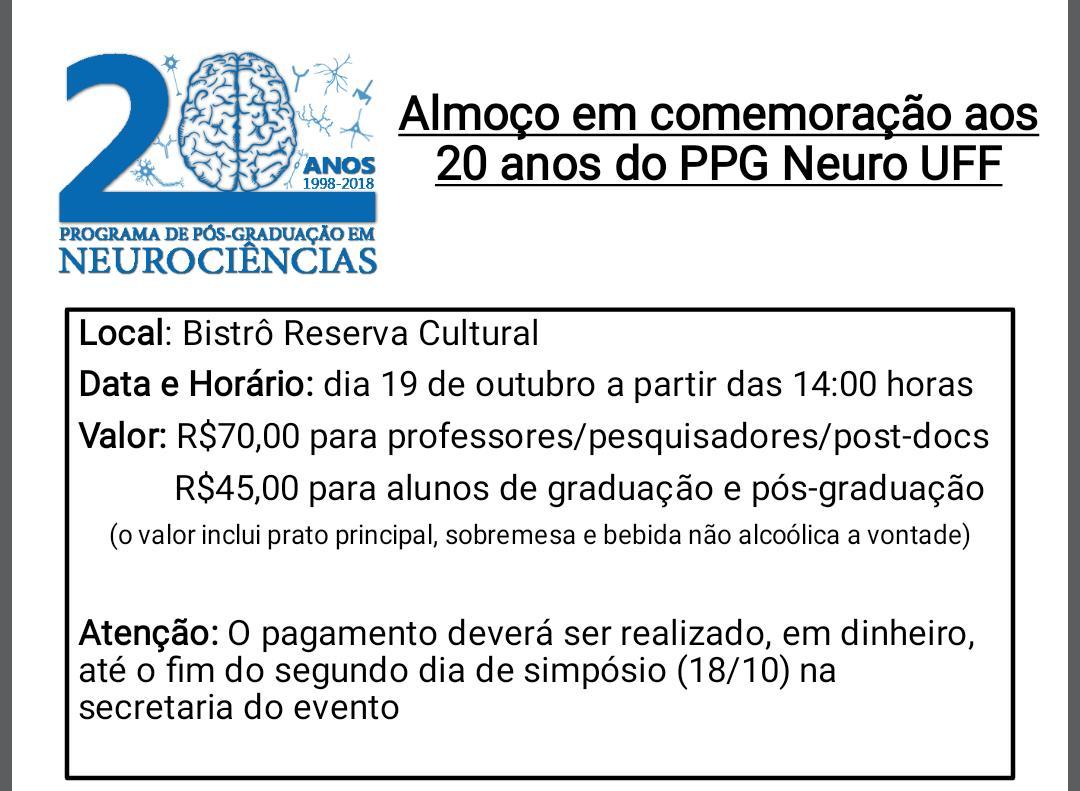 Almoço de Confraternização dos 20 anos do PPG em Neurociências! Participem!